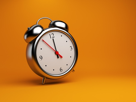 morn: Clock alarm 3D. Time concept. On orange background