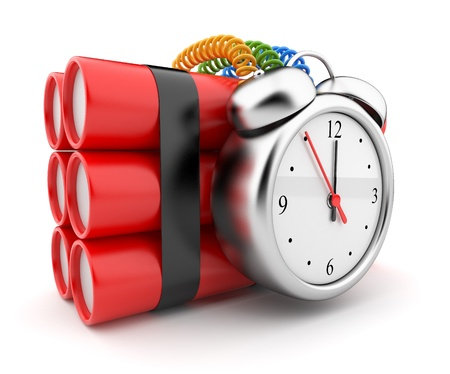 explosion risk: Bomb with clock timer 3D. Countdown. Icon on white background Stock Photo