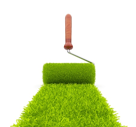 Green paint of grass. Roller isolated on white background. 3D illustration illustration