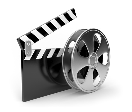 video: Film and  clap board movies symbol 3d. Isolated