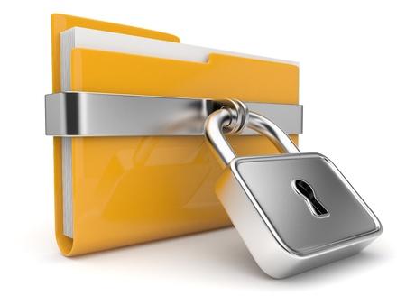 노란색 폴더 및 잠금. 데이터 보안 개념입니다. 3D