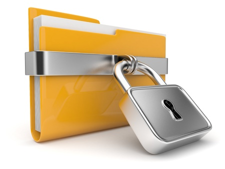 classified: Yellow folder and lock. Data security concept. 3D  Stock Photo