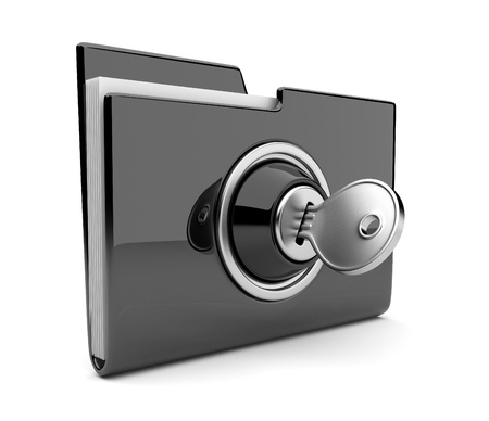 files: Black folder and lock. Data security concept. 3D