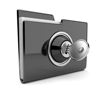 carpetas: Carpeta de negro y de bloqueo. Concepto de seguridad de datos. 3D Foto de archivo