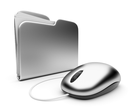 Computer mouse and silver folder.  3D illustration isolated on white illustration