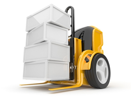 Industrial forklift with a load of. The futuristic robot. 3d isolated photo