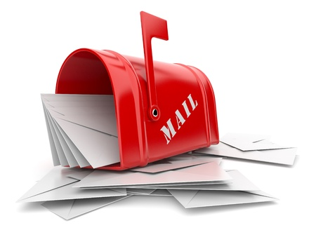 blockage: Red mail box with heap of letters. 3D illustration isolated on white