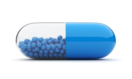 pills bottle: Blue medical pill 3D. Vitamins. Isolated on white background
