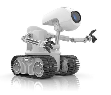 funny robot: Discussion de robot futuriste. Concept de l'intelligence artificielle. 3D isol� sur fond blanc.