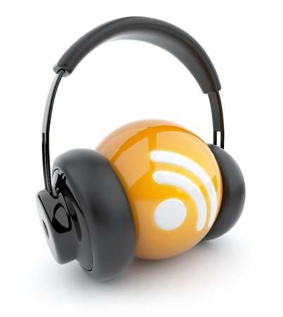 podcast: Feed or Rss icon 3D. Blog. Sphere witch audio headphones. Isolated on white Stock Photo