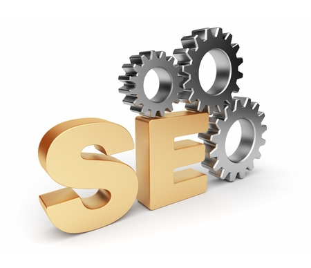 online logo: SEO optimization. 3D illustration. Isolated on a white background Stock Photo