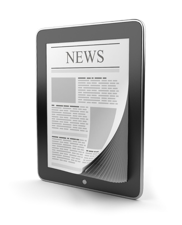 the reader: Newspaper on tablet pc. Mobile device 3D.  Icon isolated on white