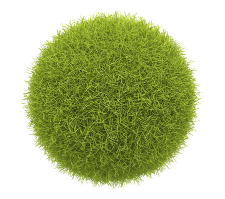Abstract  green sphere of grass 3D. Environment concept. Isolated on white background Stock Photo - 12780393