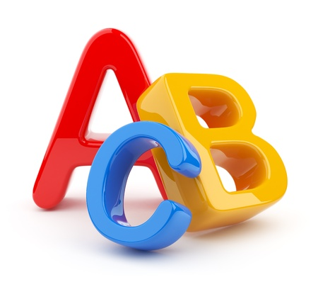 education concept: Colorful symbols heap  of alphabet. Icon  3D.  Education concept. Isolated on white