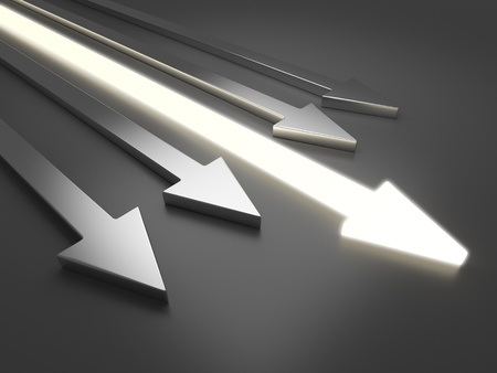 move forward: 3D light arrow. Competition concept. On gray background