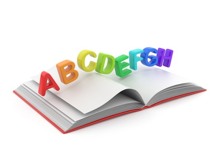 vocabulary: Colorful symbols of alphabet on book 3D.  Education concept. Isolated on white