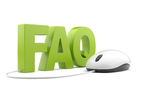 www community: FAQ 3D text with computer mouse. Isolated on white  Stock Photo
