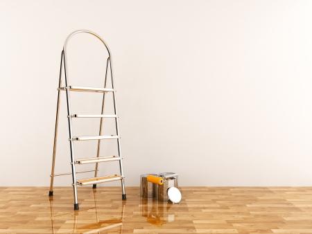 白い壁にはしごを建設。脚立