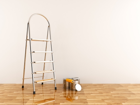 paint box: Construction ladder on a white wall. Stepladder
