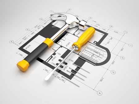 Plan of construction. 3D illustration Stock Photo