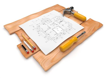 construction project: Project of construction. Icon. 3D illustration isolated on white
