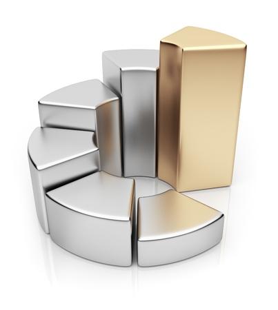 graficas de pastel: Anillo de tabla. Business 3D diagrama. Icono aisladas sobre fondo blanco Foto de archivo
