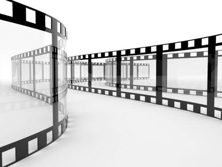 install: Film. 3d illustration on white background