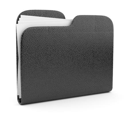 carpeta: Carpeta de cuero negro. Archivo 3D. Icono aisladas sobre fondo blanco Foto de archivo