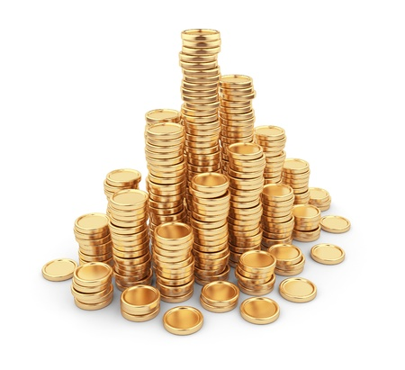 golden coins: Heap gold coins 3D  Business concept  Isolated on white background