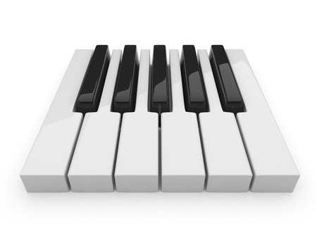 Black and white keys on music  Piano 3D photo
