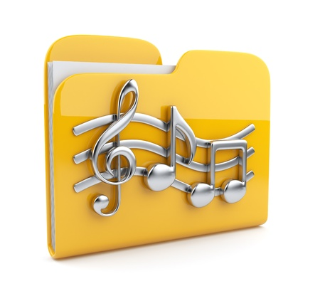 Yellow music folder with note symbols   Icon 3D  Isolated on white background photo
