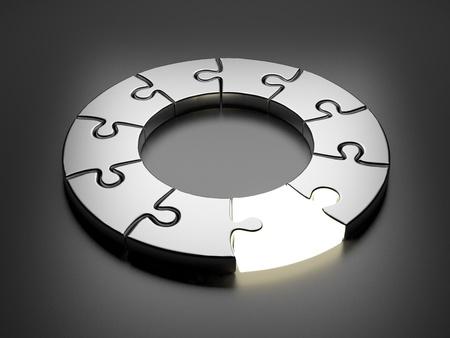 concept: Puzzle Ring 3D Innovación de concepto sobre fondo gris