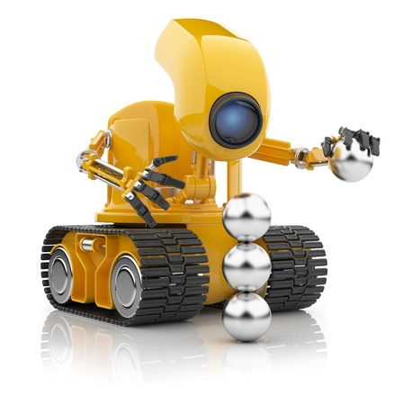 funny robot: Futuristic robot hold sphere   Artificial intelligence concept  3D isolated on white