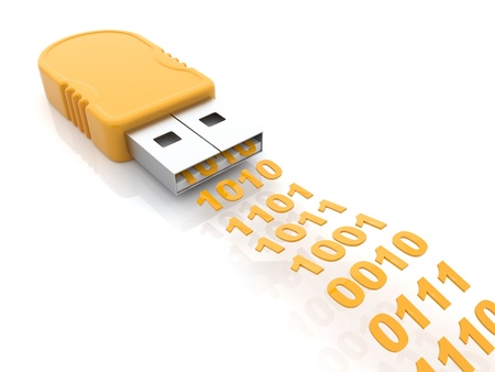 hardware store: USB flash drive 3D  Transfer data concept; Isolated on white
