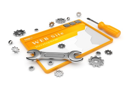 worldwide website: Website development  WWW with tools isolated on white