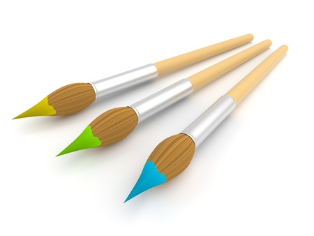 Paintbrush  isolated  3D illustration  illustration