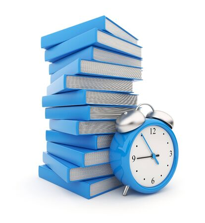 scholarship: Alarm clock standing witch stack of  books  3D Isolated on white background