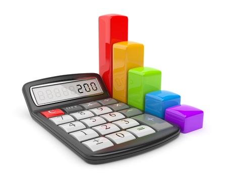 estadisticas: Calculadora y el icono colorido gr�fico 3D Concepto de negocio aislado en blanco Foto de archivo