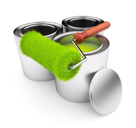 paint can: Green paint of grass. Roller and steel can isolated on white background. 3D illustration