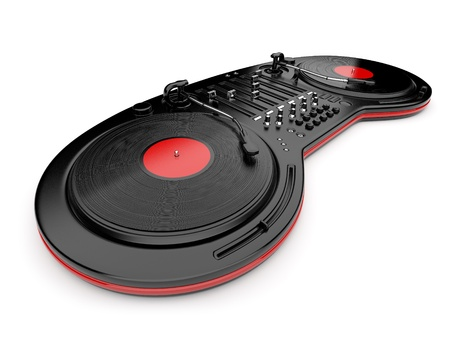 DJ music mixer control with  vinyl disc 3D. Isolated on white photo
