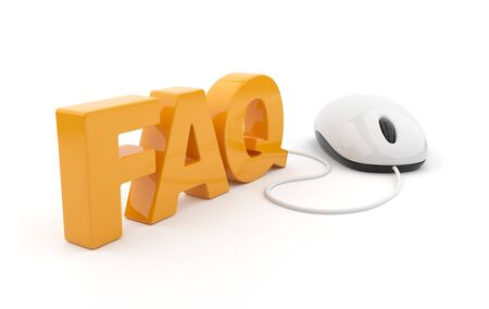 FAQ 3D text with computer mouse. Isolated on white background photo