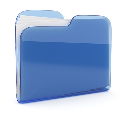 doc: Blue glass folder. File 3D.  Icon isolated on white background