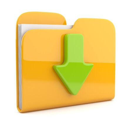 download folder: Yellow folder and arrow. 3D icon. Date download. Isolated on white