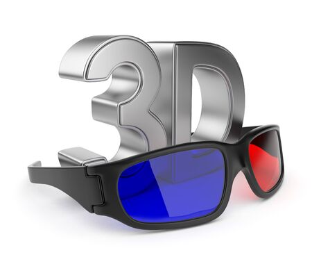 stereoscopic: 3D glasses of stereoscopic cinema. Isolated on white background