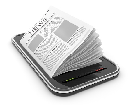 business news: Business newspaper on smart  phone. Mobile device concepts 3D.  isolated on white Stock Photo