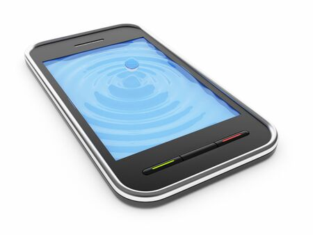 watery: Black mobile smart phone with watery blue screen 3D. Icon. Isolated on white