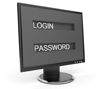 Monitor. Computer security. 3d illustration Stock Illustration - 12780440