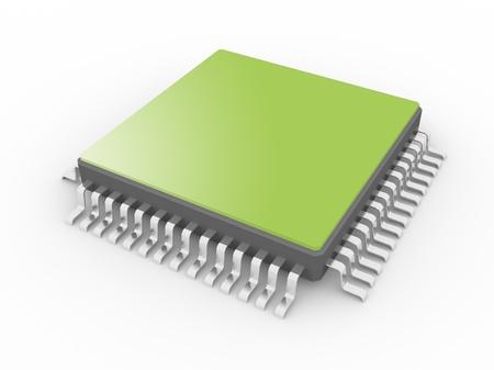 circuito integrado: Procesador aislado en un fondo blanco Foto de archivo