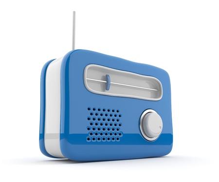 3D de radio Bleu. Style rétro. Isolé sur fond blanc