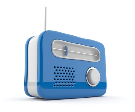 retro radio: Blue radio 3D. Retro style. Isolated on white